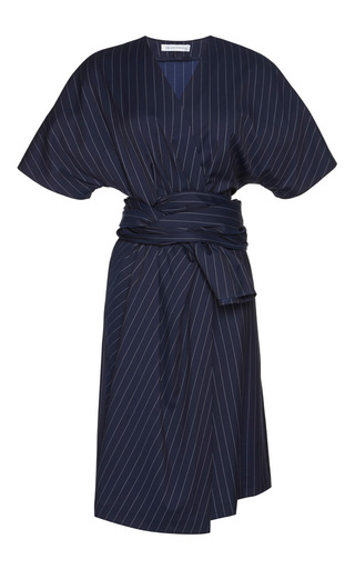 Medium j w anderson blue pinstripe suiting wrap drape dress note to comment on styling at home