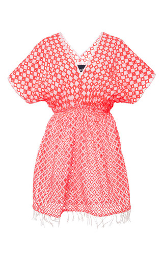 Medium basta surf red islita tunic neon eyelet cover up in neon coral