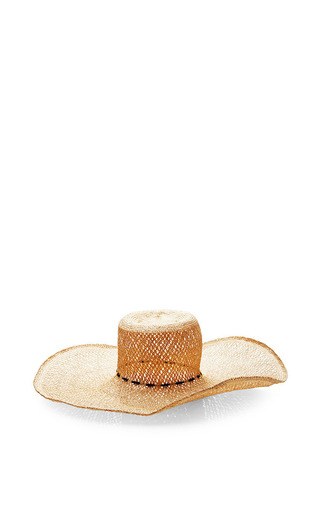 Medium basta surf brown tina hat handwoven strae in natural color trimmed with black bungee