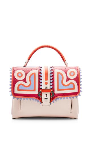 Medium paula cademartori pink graphic handbag with front buckle