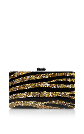 Jean Zebra Glitter Clutch by EDIE PARKER Now Available on Moda Operandi
