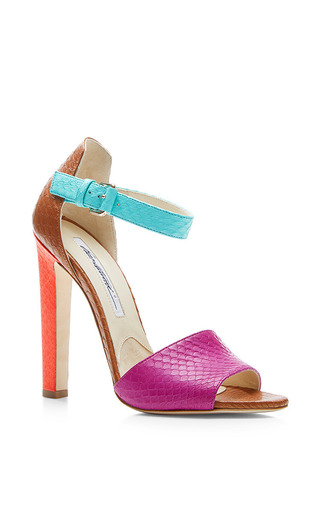Medium brian atwood multi 120 mm heel watersnake mix color iosy sandal