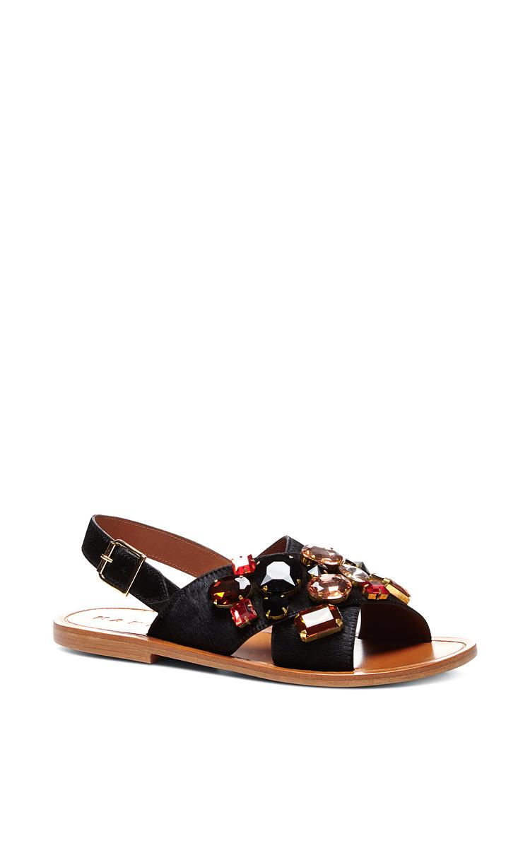 Operandi Black Sandals By MarniModa Embellished Flat 4jLA5R