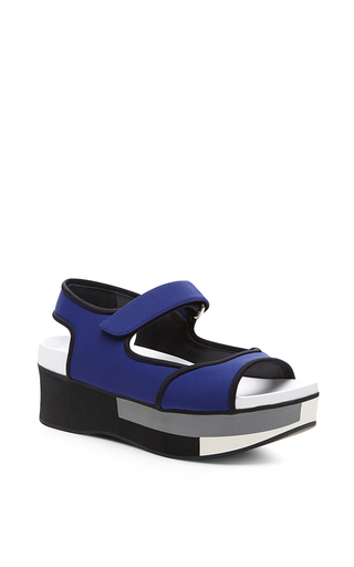 Medium marni blue blue and grey flat wedge
