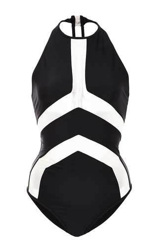 Medium suboo black black and nude mesh halter one piece