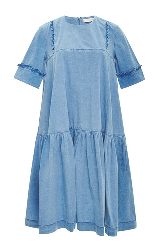 Medium preen line blue savannah dress with embroidery