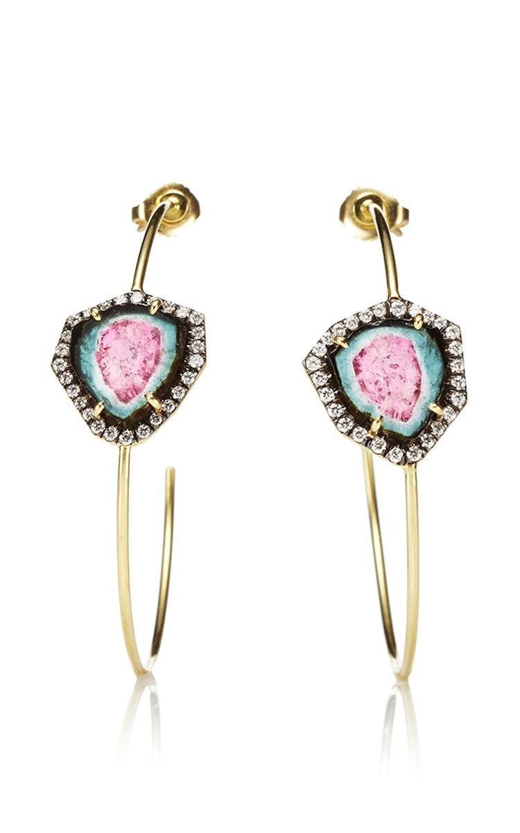 Large Thin Diamond Hoop Earrings