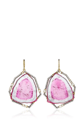 One Of A Kind Bicolor Tourmaline Slice Earrings by JEMMA WYNNE for Preorder on Moda Operandi