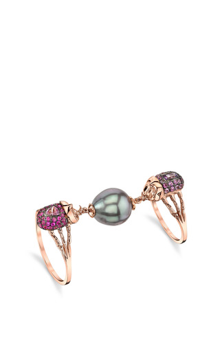 Truth 18 K Pink Gold, South Sea Pearl, And Sapphire Phalanx Ring by DANIELA VILLEGAS Now Available on Moda Operandi