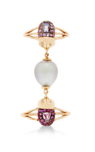 Medium daniela villegas pink multi colored stone with pink south sea pearl ring