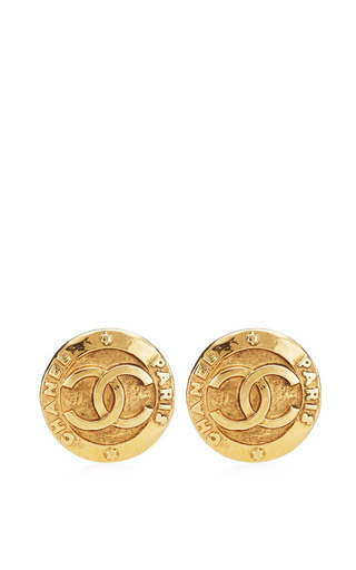 Medium what goes around comes around gold vintage chanel large cc clip earrings from what goes around comes around