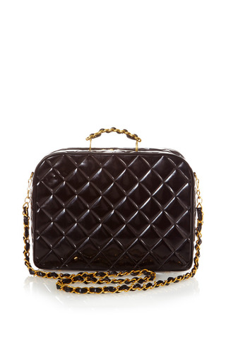 Medium what goes around comes around black vintage chanel black quilted patent bag from what goes around comes around