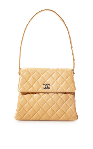 Medium what goes around comes around brown vintage chanel beige caviar trap bag from what goes around comes around