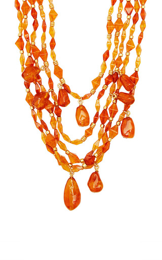 Medium what goes around comes around orange vintage chanel amber multi strand necklace from what goes around comes around