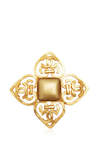 Vintage Chanel Gold Cross Stone Brooch From What Goes Around Comes Around by WHAT GOES AROUND COMES AROUND for Preorder on Moda Operandi