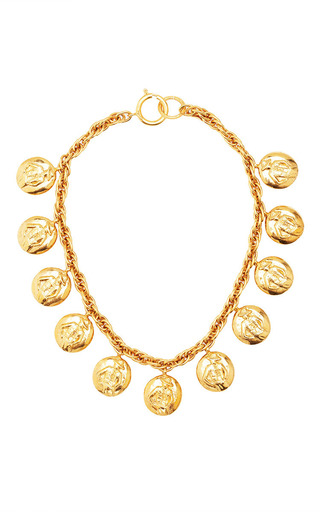 Medium what goes around comes around gold vintage chanel gold coco coin necklace from what goes around comes around