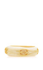 Vintage Chanel Cream Lacquer Thick Bangle From What Goes Around Comes Around by WHAT GOES AROUND COMES AROUND for Preorder on Moda Operandi