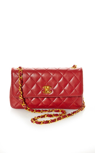 Medium what goes around comes around red vintage chanel red mini half flap bag from what goes around comes around