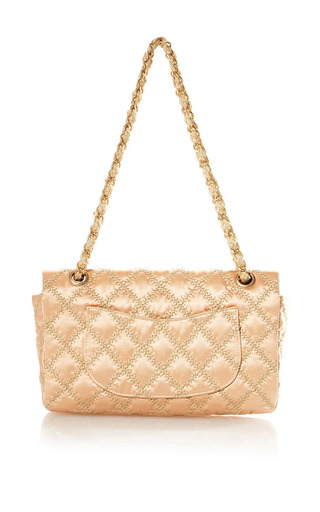 Vintage Chanel Pink Satin Tan Stitch Handbag From What Goes Around Comes Around by WHAT GOES AROUND COMES AROUND for Preorder on Moda Operandi