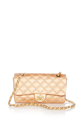 Medium what goes around comes around pink vintage chanel pink satin tan stitch handbag from what goes around comes around
