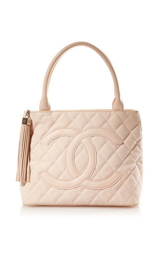 Medium what goes around comes around pink vintage chanel pink canvas quilted cc bag from what goes around comes around
