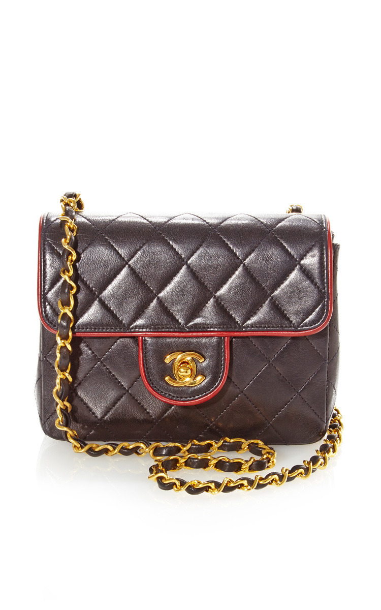 645861f979110a What Goes Around Comes AroundVintage Chanel Black Red Piping Half Flap From  What Goes Around Comes Around