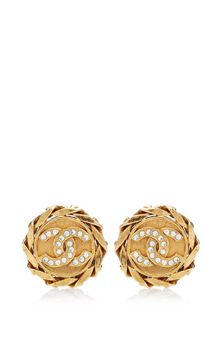 Medium what goes around comes around gold vintage chanel crystal cc round earrings from what goes around comes around