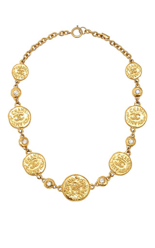 Medium what goes around comes around gold vintage chanel cc coin crystal necklace from what goes around comes around