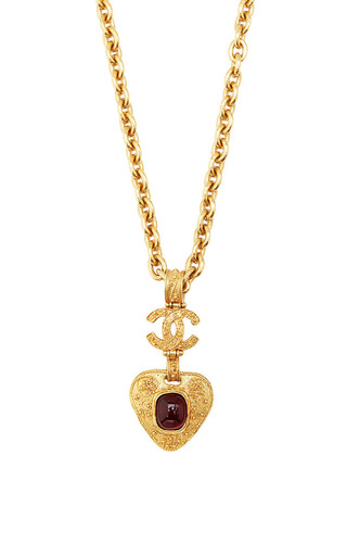 Medium what goes around comes around gold vintage chanel red gripoix filigree heart necklace from what goes around comes around