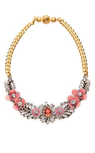 Medium shourouk pink flower rose necklace