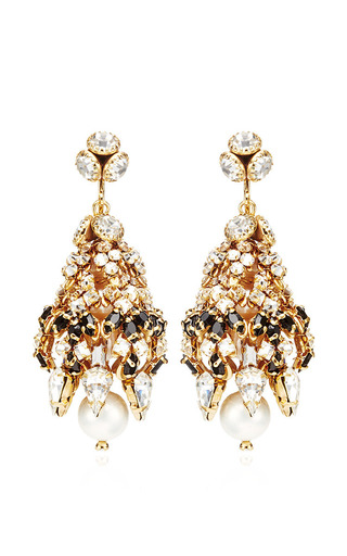 Medium bijoux heart unknown color large pave crystal and jet orb earrings