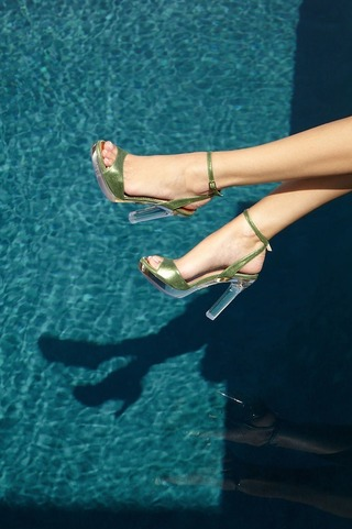 Athena Sandal In Palm by PALTER DELISO for Preorder on Moda Operandi