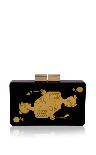 Medium urania gazelli gold queen of spades clutch
