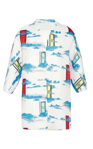 Medium osman pink midi coat in doors and clouds jacquard