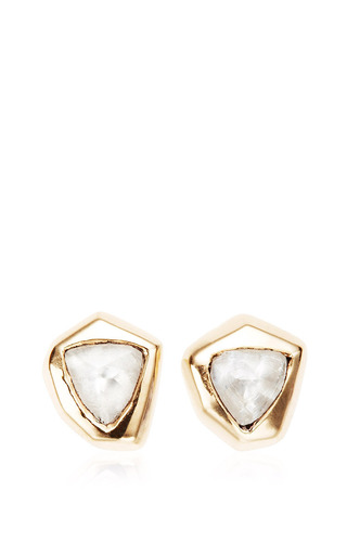 Medium maiyet gold cubist stud earrings