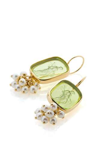 Medium bahina white 18k yellow gold small pearls and light green venetian glass earrings