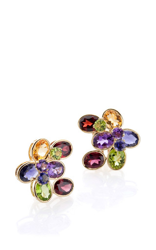 18 K Yellow Gold Citrine, Amethyst, And Peridot Stone Studs by BAHINA for Preorder on Moda Operandi