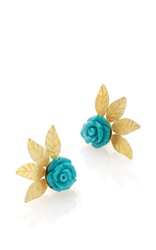 Medium bahina gold 18k yellow gold turquoise and gold studs
