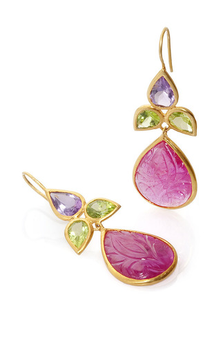 18 K Yellow Gold Ruby Peridot And Amethyst Earrings by BAHINA for Preorder on Moda Operandi