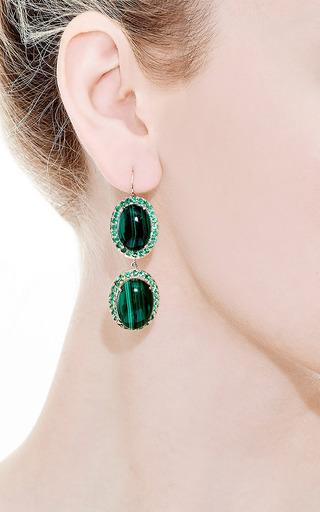 Oval Malachite Earrings by ANDREA FOHRMAN for Preorder on Moda Operandi