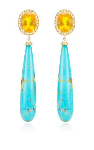 One Of A Kind Fire Opals & Rosecut Diamond Earrings by ANDREA FOHRMAN for Preorder on Moda Operandi