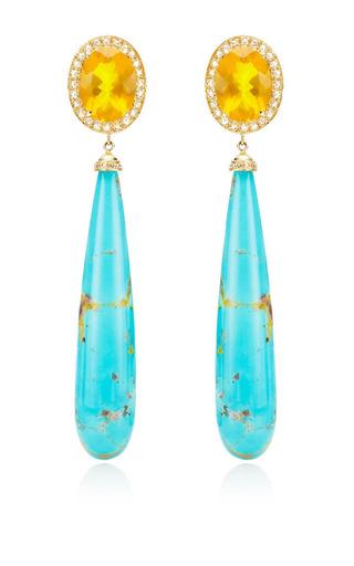 One Of A Kind Fire Opals & Rosecut Diamond Earrings by ANDREA FOHRMAN for Preorder on Moda Operandi