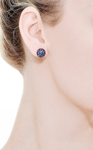 Unique Round Australian Opals Ruby Earrings by ANDREA FOHRMAN for Preorder on Moda Operandi
