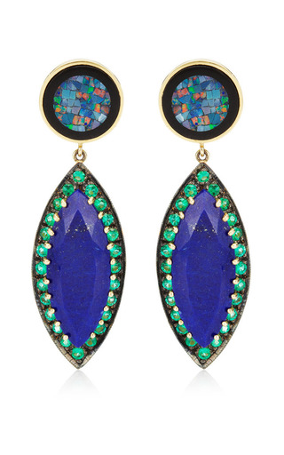Unique Round Mosaic Opal & Lapis Marquis With Emeralds Earrings by ANDREA FOHRMAN for Preorder on Moda Operandi