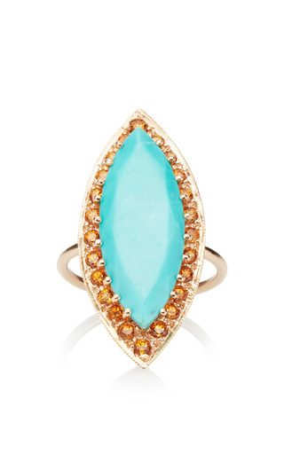 Turquoise Marquis With Spessartite Ring by ANDREA FOHRMAN for Preorder on Moda Operandi