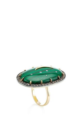 Oval Malachite Ring With Crescent Moon by ANDREA FOHRMAN for Preorder on Moda Operandi