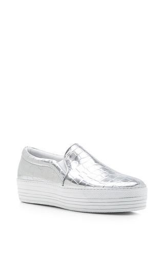 Medium joshua sanders silver double sole silver python sneakers