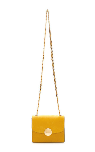 Medium marc jacobs yellow mini suede trouble bag with deep gold hardware in sunflower 2