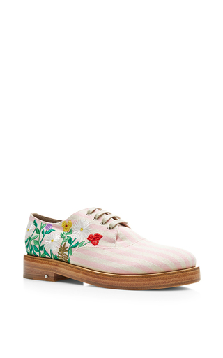 Medium laurence dacade pink homere spring embroided striped linen oxford shoe