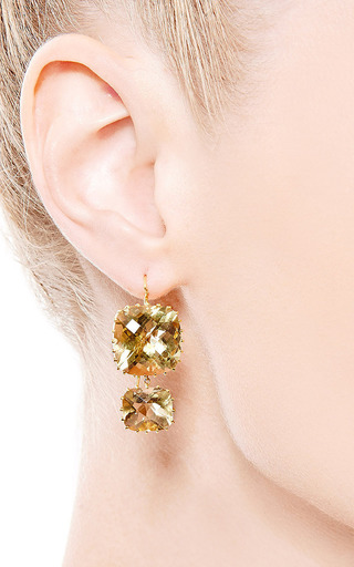 One Of A Kind Green Topaz Earrings by RENEE LEWIS for Preorder on Moda Operandi